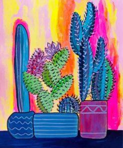 Cactus Plants Pots Paint by numbers
