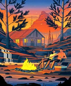 Camping Illustration Art Paint by numbers