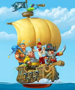 Cartoon pirate ship paint by numbers
