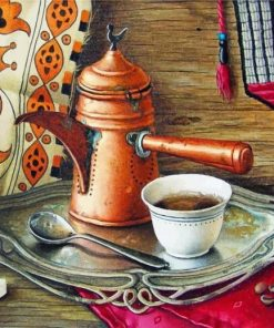 Coffee Pot And Cup Paint by numbers