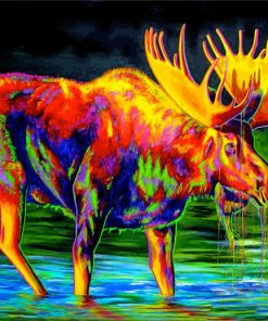 Colored Moose Art paint by numbers