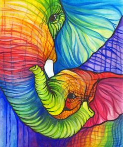 Colorful Elephant And Calf Paint by numbers