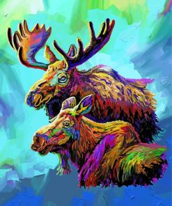 Colorful Moose And Baby Paint by numbers
