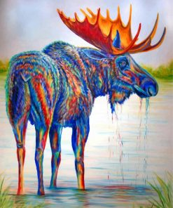 Colorful Moose Art Paint by numbers