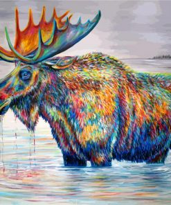 Colorful Moose In Pond Paint by numbers