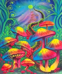 Colorful Mushrooms Paint by numbers
