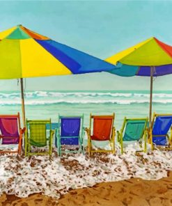 Colorful Sunloungers Paint by numbers