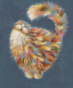 Colorful Fluffy Cat Paint by numbers