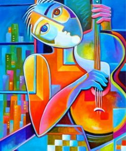 Cubism Guitarist Paint by numbers