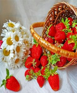 Daisies And Strawberries paint by numbers