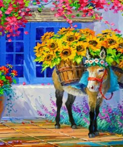 Donkey And Sunflowers Paint by numbers