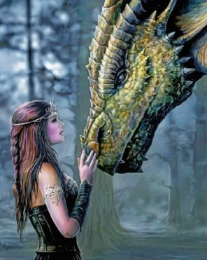 Dragon And Woman paint by number