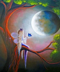 Fantasy Fairy On Tree Paint by numbers