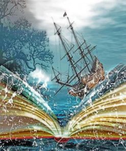 Fantasy Sea Book Ship paint by number