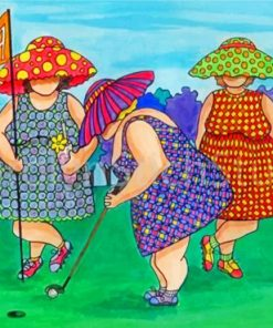 Fat Ladies In Golf Paint by numbers