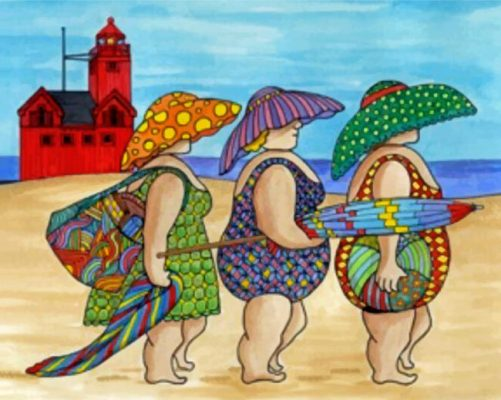 Fat Ladies In The Beach Paint by numbers