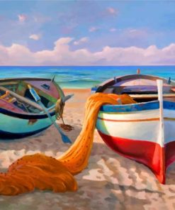 Fishing Boat Beachside Paint by numbers