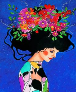 Floral Head Girl Paint by numbers