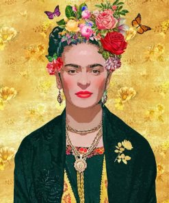 Frida With Flowers And Butterflies Paint by numbers