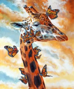 Giraffe And Butterflies Paint by numbers