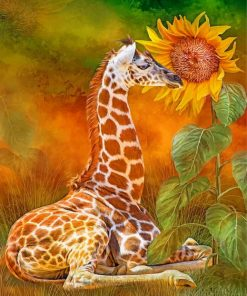 Giraffe And Sunflower Paint by numbers