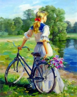 Girl And Bike Paint by numbers