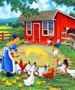 Girl Feeding Chickens Paint by numbers