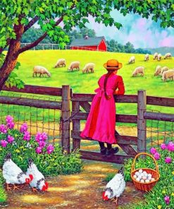 Girl In Farm Paint by Numbers