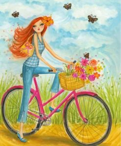 Girl On Bicycle paint by numbers