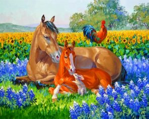 Horses And Rooster Paint by numbers