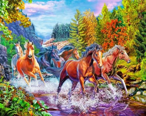 Horses In River Paint by numbers