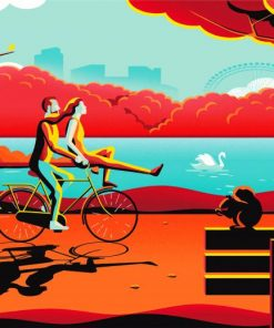 Illustration Couple On Bike Paint by numbers