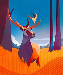 Illustration Deer paint by numbers