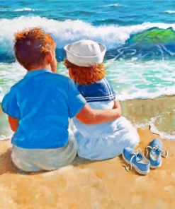 Kids In The Beach Paint by numbers