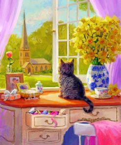 Kitten By Window Paint by numbers