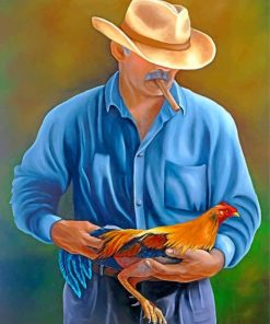 Man Holding Rooster Paint by numbers