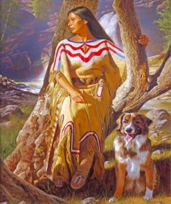Native Woman And Dog Paint by numbers
