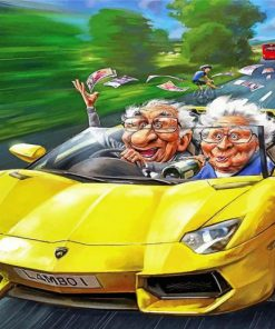 Old Couple In Car Paint by numbers