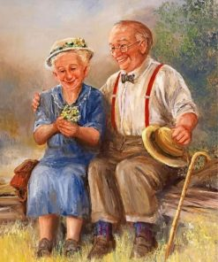 Old Couple In Garden paint by numbers