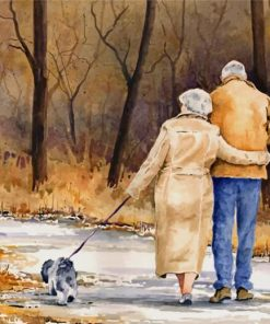 Old Couple Walking paint by numbers