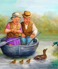 Old Couple On Boat Paint by numbers