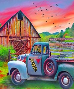 Old Truck And Barn Paint by numbers