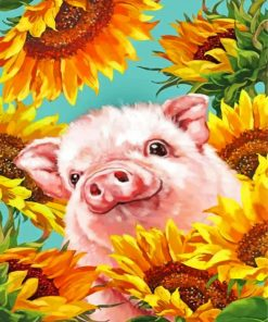 Pig With Sunflowers Paint by numbers
