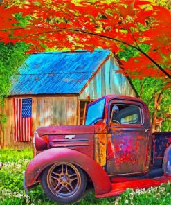 Rusty Truck In Farm Paint by numbers