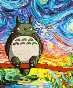 Totoro Starry Night Paint by numbers