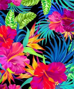 Tropical Flowers And Plants Paint by numbers