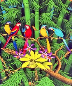 Tropical Parrots Birds Paint by numbers