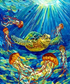 Turtle And Jellyfishes Paint by numbers