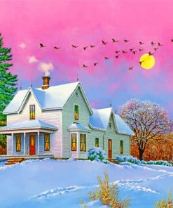 Winter Snow Cottage Paint by numbers
