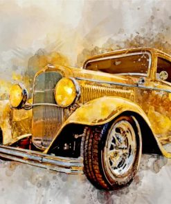 Yellow Classic Car Art Paint by numbers